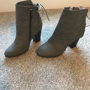Shoes - Grey lace up back ankle booties